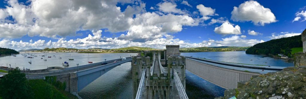 panoramic image of a bridge in Wales, UK
