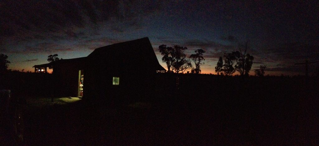 A small house sunset country New South Wales